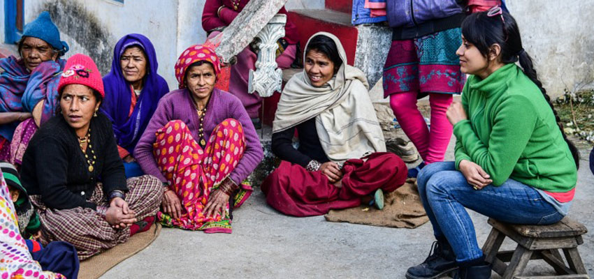 D-Lab research associate Megha Hegde (right) conducting a focus group discussion with women in a village in the Kapkot block of Bageshwar district.