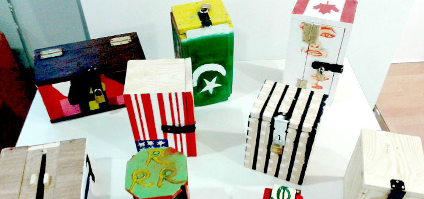 Safe boxes designed, built, and decorated by unaccompanied refugee minors.