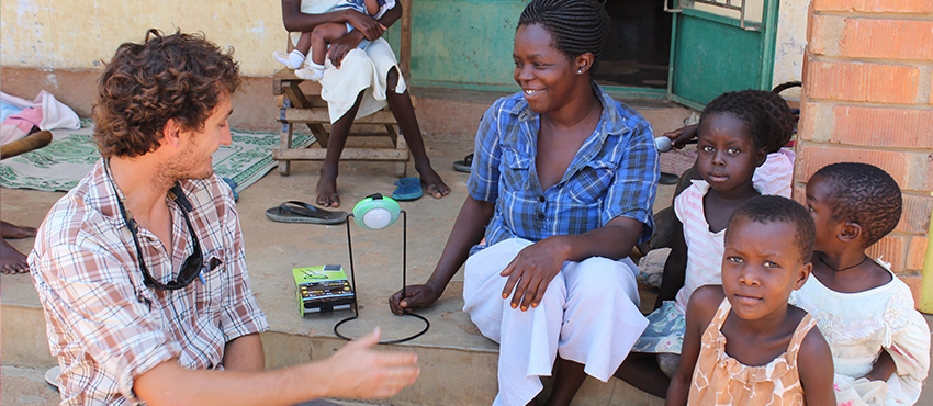 MIT D-Lab research scientist Dan Sweeney explaining the objectives of a cookstove adoption study in Soroti, Uganda.