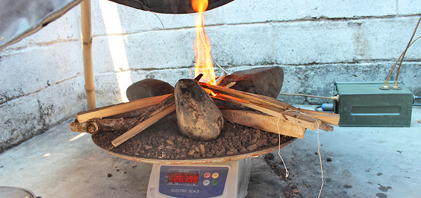 Testing cooking fuels in Haiti, 2014.