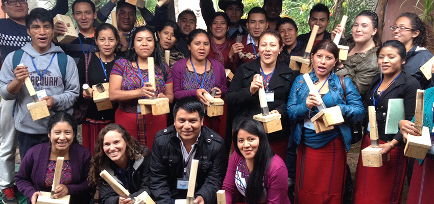 Workshop parrcipants with their handmade charcoal preses, Ixil region, Guatemala, 2014.