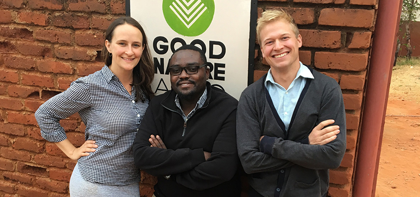 From left: Kellan Hayes, Sunday Silungwe, Carl Jensen of 2014 D-Lab Scale-Ups venture Good Nature Agro.