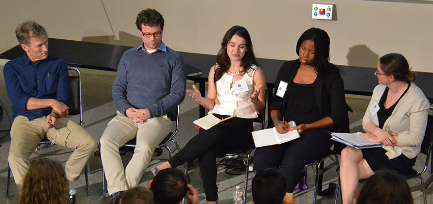 (l-r) Kevin Starr (Mulago Foundation), Mike McCrelless (Root Capital), Kasia Stochinol (Acumen), Bilikiss Adebiyi-Abiola (Wecyclers), and Kendra Leith (MIT D-Lab).