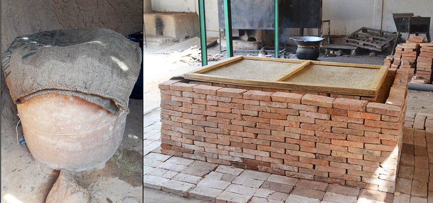 Two examples of an evaporative cooling device for vegetable storage and preservation. Left: clay pot cooler. Right a brick evaporative cooling chamber.