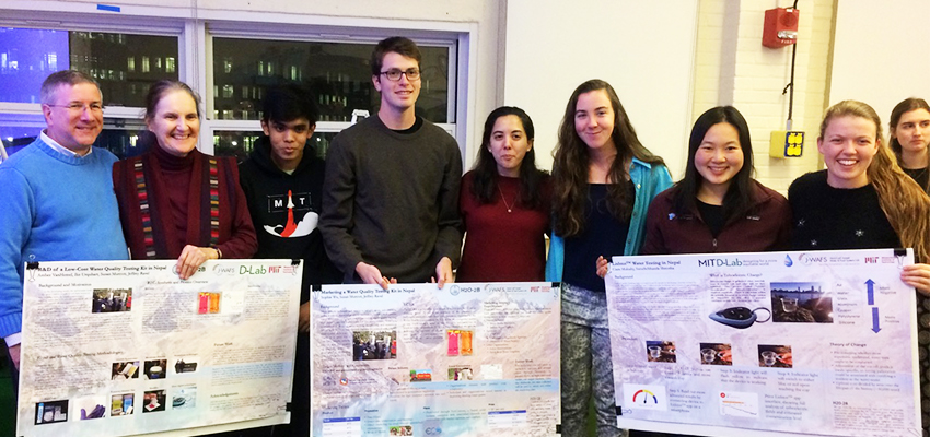D-Lab: WASH students with their project posters, December 2018.
