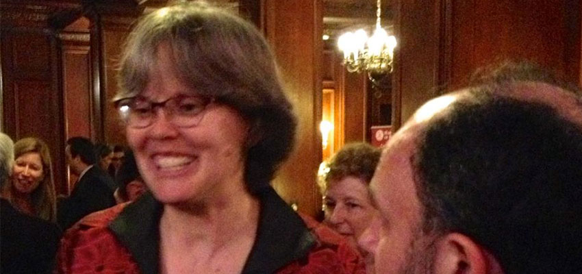 "D-Lab Founding Director Amy Smith at the Harvard Club of Boston receiving ""Boston's Most Influential Women"" award."