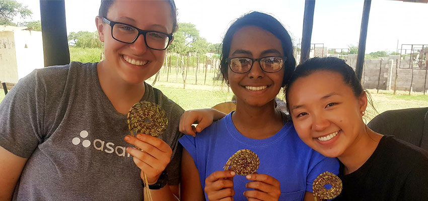 Proud traditional basket weavers with their hand crafted coasters! Three D-Lab: Development students in Botswana: (left to right) Rebecca Sloan, Smita Bhattacharjee, Anna Wan.