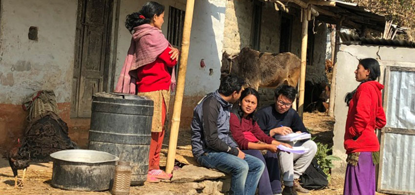 D-Lab students conducting interview. Nepal, January, 2018.