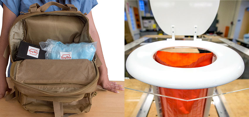 SurgiBox surgical theater in a back pack (left) and change:WATER toilet prototype (right).