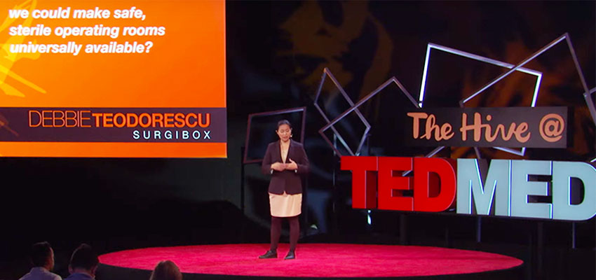 Debbie Lin Teodorescu, founder of SurgiBox, on the TedMed stage.