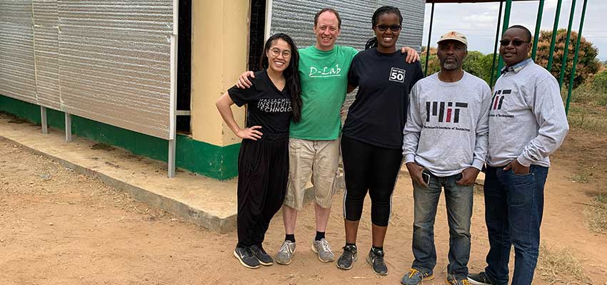 Evaporative cooling team at farming cooperative center in Masii, Kenya. From left: Trang Luu, Eric Verploegen, Carene Umubyeyi, research partners from the University of Nairobi El-Yakhim Mwachoni and Benson Maina.