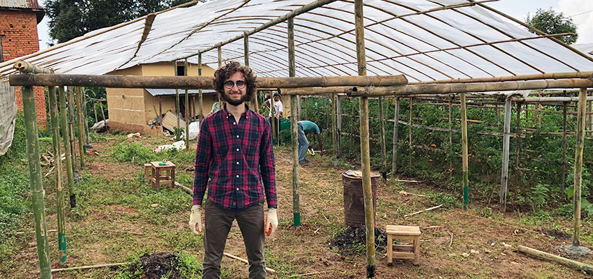 Matthew Baldwin, MIT '21 in the Kathmandu Valley of Nepal where, with a team, he built his own design of a modular bamboo greenhouse structure.