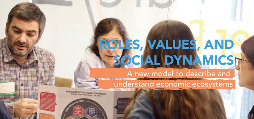 Roles, values, and social dynamics: a new model to describe and understand economic ecosystems