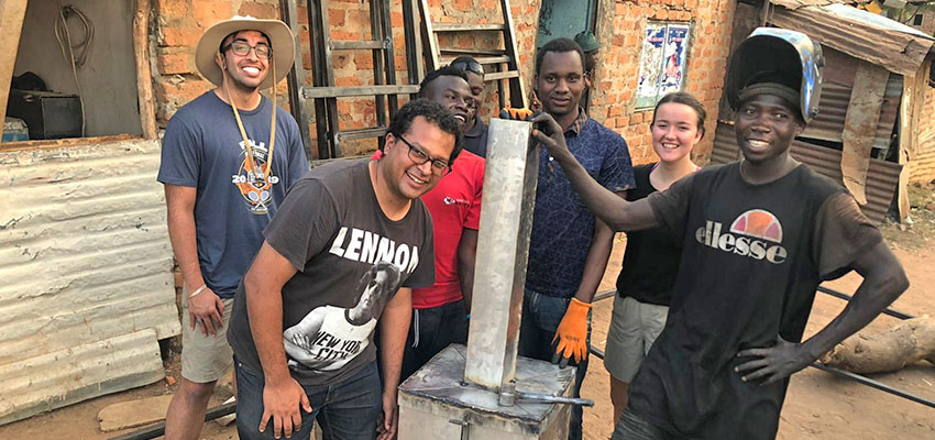 Biomass powered heat exchanger built by the MIT D-Lab team and TEWDI Uganda staff. January 2020.