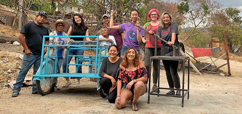 D-Lab: Development team in Oaxaca with community partners and the nearly finished cart we worked on together.