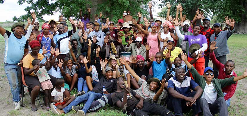Members of Tsodilo Village and These Hands pose for a victory shot after the community showcase in January 2020.