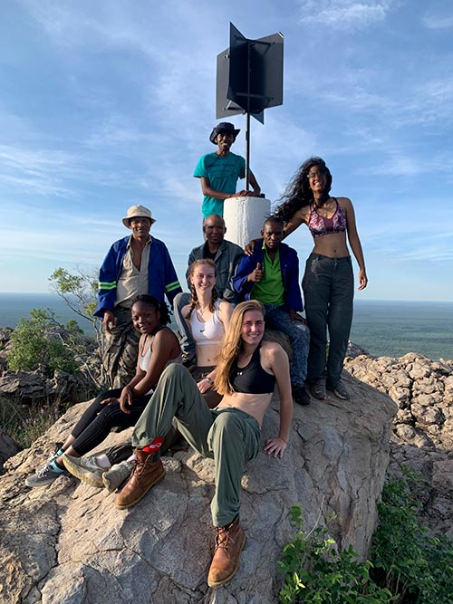 The crew at the peak of Botswana--the Male Hill--in Tsodilo.
