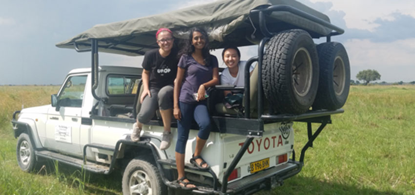 D-Lab students Anna, Smita, and Rebecca on the safari game drive in Maun, Botswana
