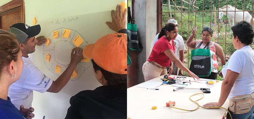 Left: Nahaun, facilitator-in-training from El Salvador works with team to practice teaching the design process. Right: Tatiana, facilitator-in-training, practicing teaching teaching the lantern build-it to fellow facilitators-in-training. Photos: Sher Vogel