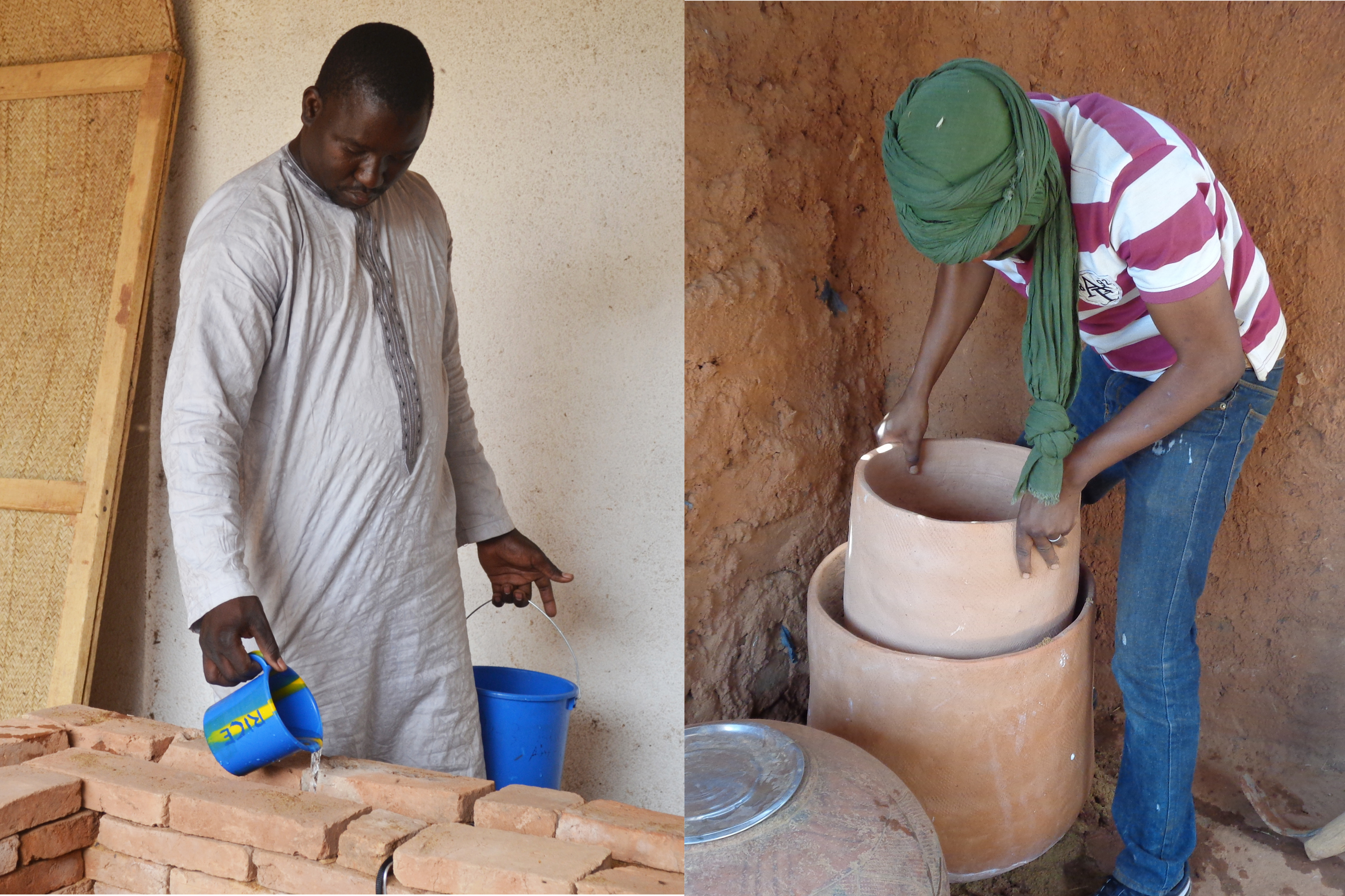 """Evaporative Cooling Technologies for Improved Vegetable Storage in Mali"" is a new report from MIT D-Lab and CITE. At left, University of Bamako graduate student Aliou Coulibaly adds water to an evaporative cooling chamber in Bamako. At right, World Vegetable Center technician Fatogoma Tanou assembles a clay pot cooler in Mopti."