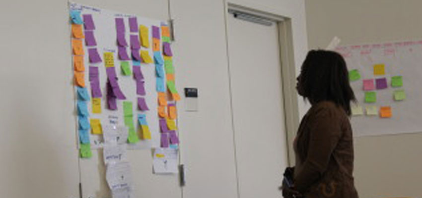 A participant reviews the morning's brainstorms