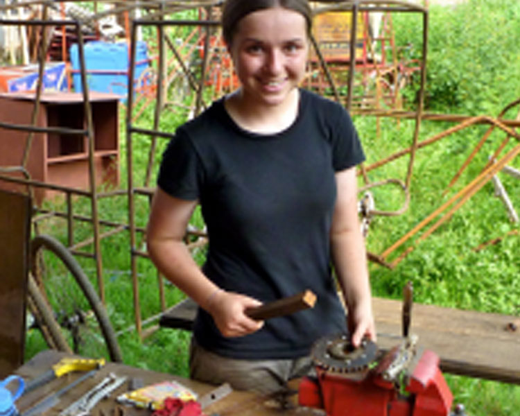 Maddie working at the Rickshaw Bank, Guwahati, India.