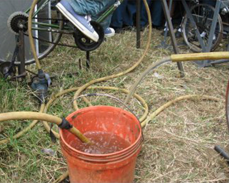 Bernard's bicycle-powered water pump. Photo: Bernard Kiwia