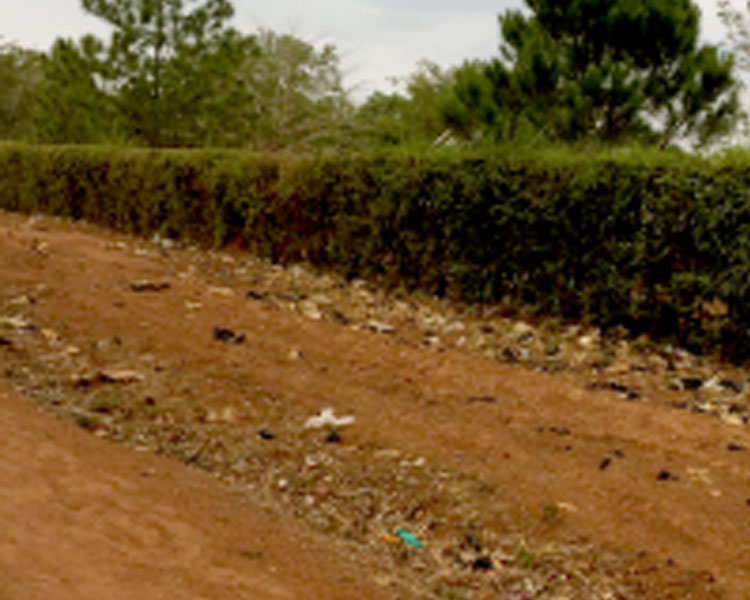 Plastic wasted littering a roadside in Soroti.