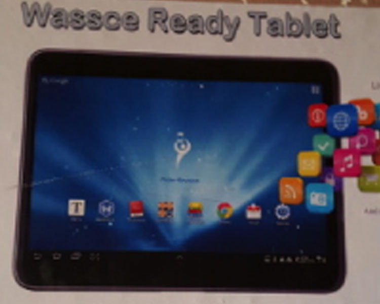 WASSCE-ready tablet advertisement.