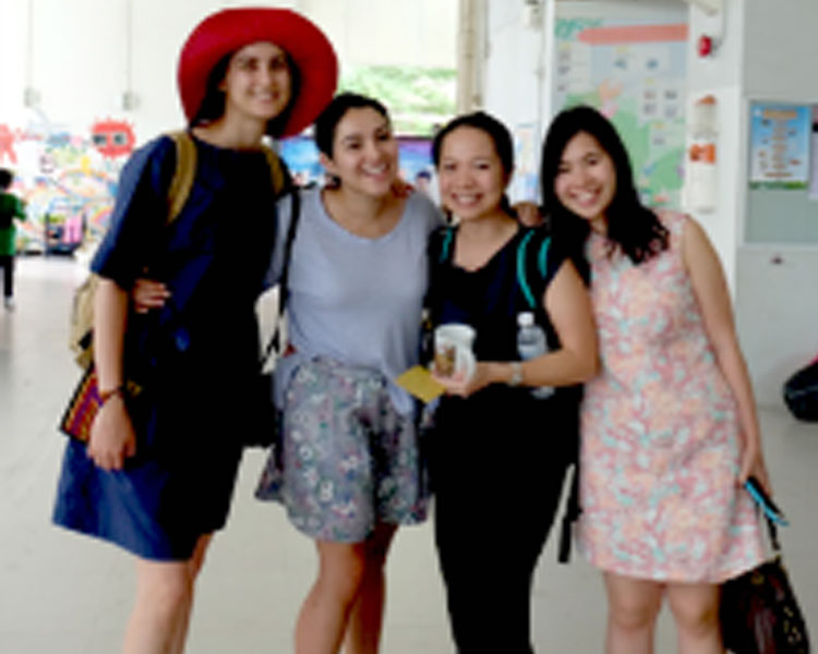 Left to right: Catherine, Estefania, Tukta and Sam (one of our translators) at DSIL.