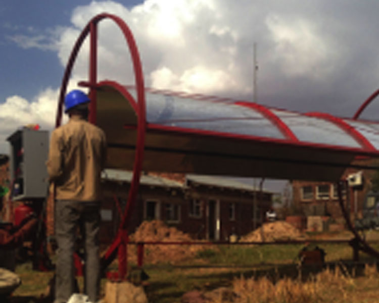 A solar collector prototype installed at the R&D facility in Maseru, Lesotho
