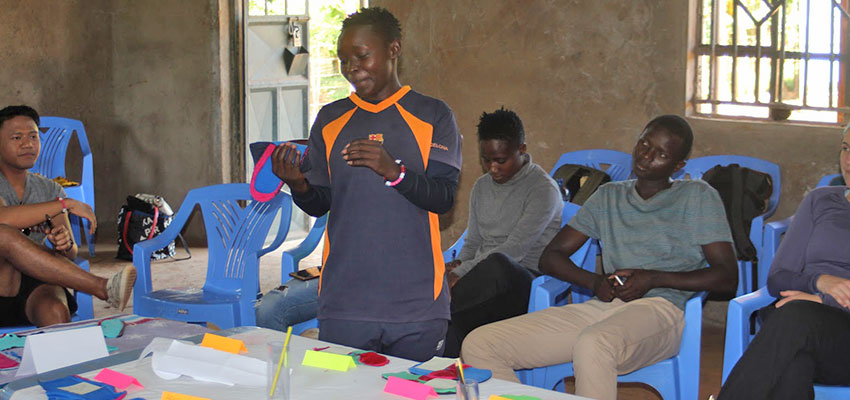 Participants showcasing their final reusable pad on the last day of the workshop. Oyugis, Kenya, January 2020.