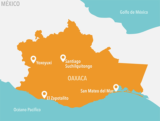 Location of the four communities in Oaxaca where CCB-inspired workshops were facilitated as part of the OC3 program.