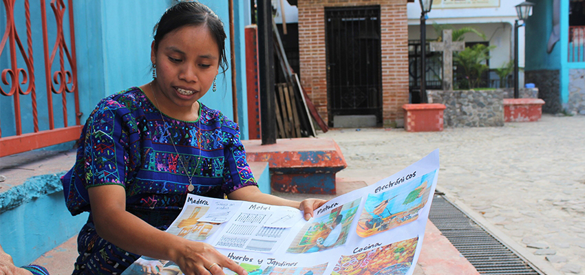 An community member in Guatemala explains local food resources informing her innovation project