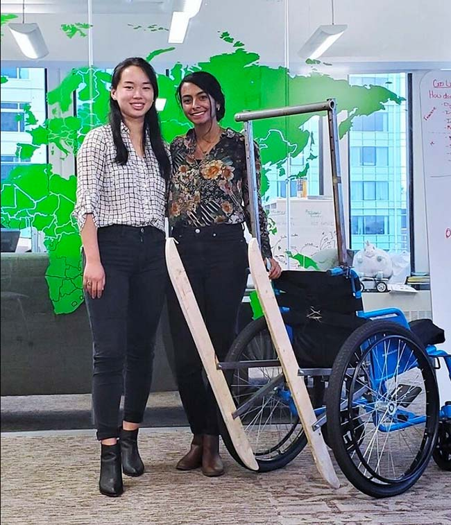 Jessica Xu '21 and Smita Bhattacharjee '21 with an early TILT prototype at the MIT Legatum Center Open House in fall 2019.