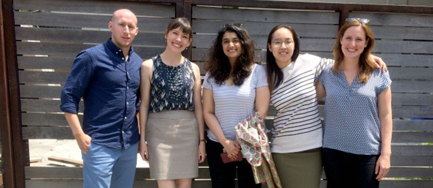 D-Lab Monitoring, Evaluation, and Learning (MEL) Manager Laura Budzyna (second from left) with MEL 2018 summer interns Tom DeMaio, Rachita Mehrotra, Jieun Park, and Erika Desmond.