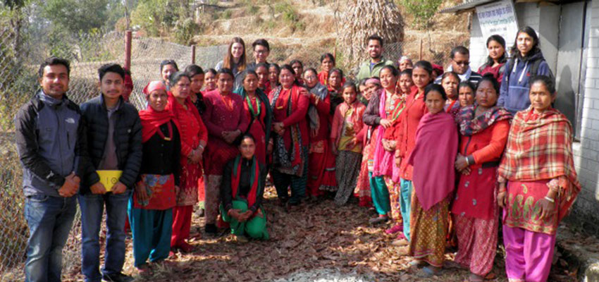 MIT D-Lab and Kathmandu University team with women from a Village Child Protection Committee (VCPC), Salambu, Nepal.