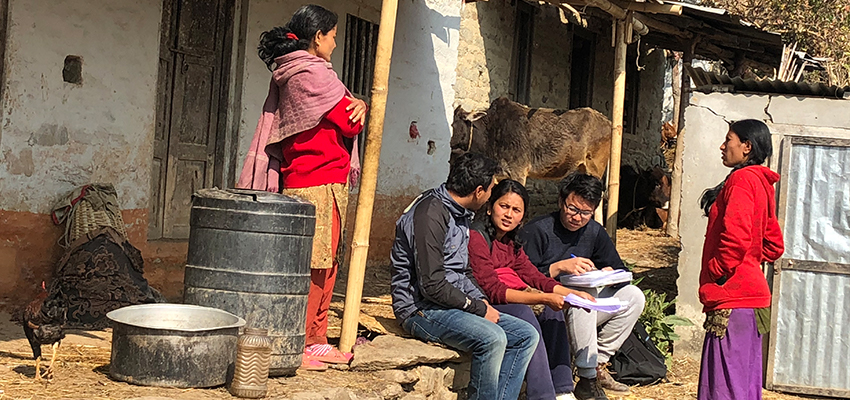 Adam Zhao and Sandhya Bohara conducting an energy needs assessment with women from Salambu, Nepal.