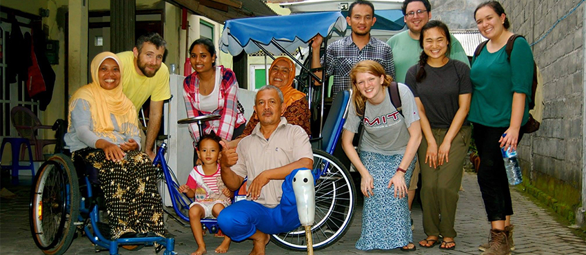D-Lab: Development and D-Lab: Mobility students in Yogyakarta, Indonesia to work with United Cerebral Palsy Wheels for Humanity, January 2016.