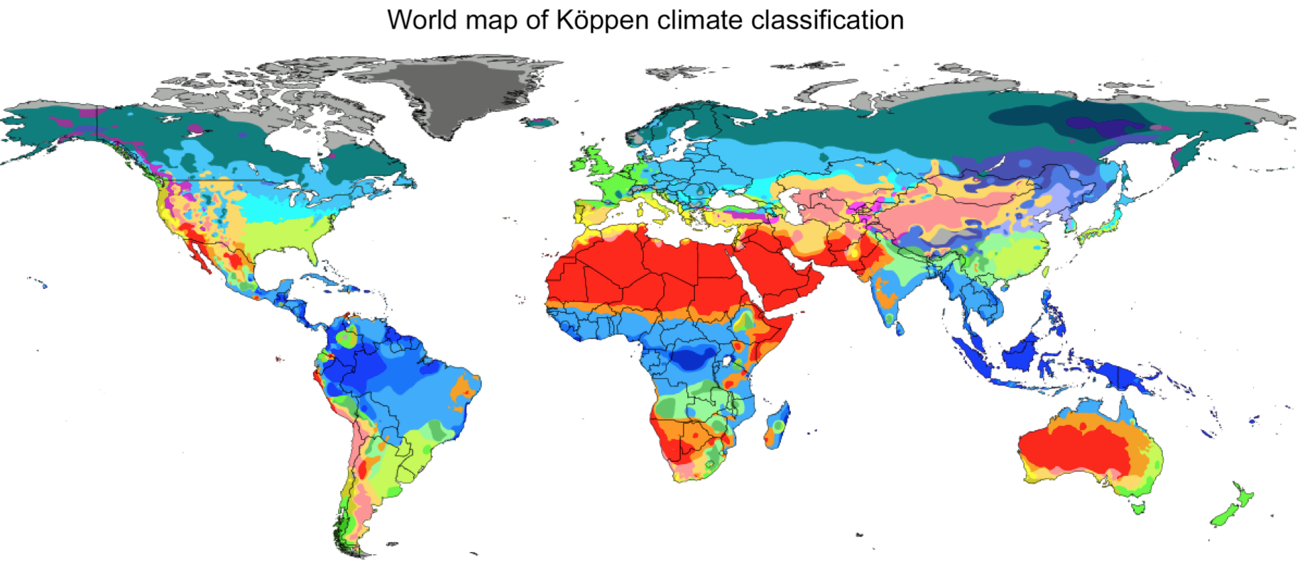 "The Koppen climate classification map shown above gives an overview of regions in the world where hot and dry climates are present: ""Dry-Desert-Hot summer"" climates (represented in red) and ""Dry-Steppe-Hot summer"" climates (represented in orange). Website: http://hanschen.org/koppen/"