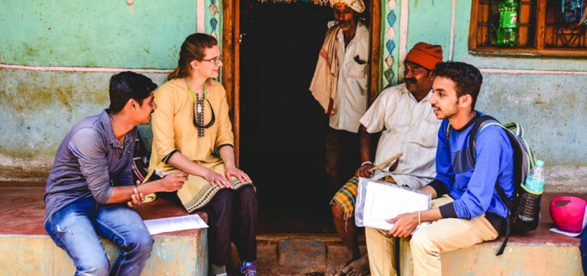 MIT D-Lab students conduct interview related to water filter needs, India, January 2018.