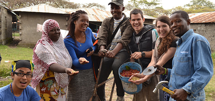 International design team from International Development Design Summit 2014 tests low-cost coffee bean sheller prototype with farmers in Tanzania.