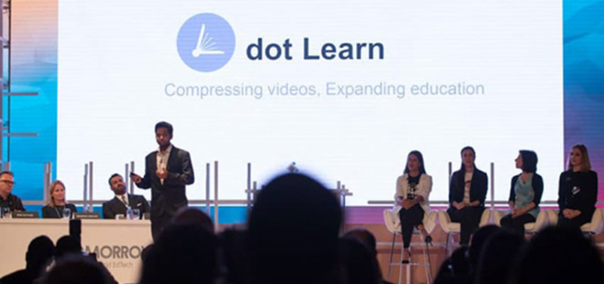 Vectorly co-founder and CEO Sam Bhattacharyya at a pitch competition before he pivoted the company and changed its name from dot Learn.