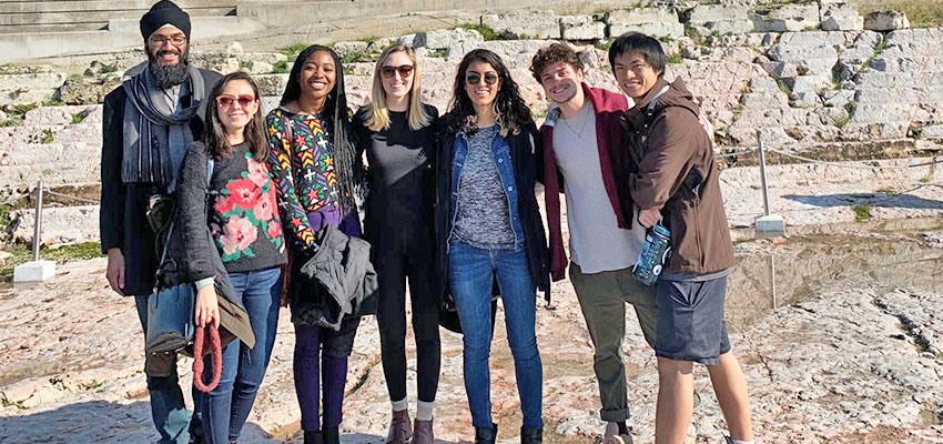 MIT D-Lab student team at the Parthenon in Athens, Greece. The team was in Athens to deliver workshops to unaccompanied refugee youth.