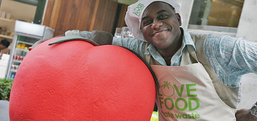 "Celebrity chef Ainsley Harriott at the launch of the campaign ""Love Food, Hate Waste,"" which found that the UK is throwing away a third of all food bought in the country. David Parry - PA Images / PA Images via Getty Images"