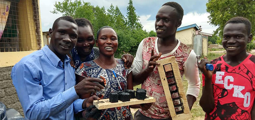 Saka, a charcoal-from-waste team, got started at a June 2019 Creative Capacity Building workshop in Rhino Refugee Settlement, Uganda.