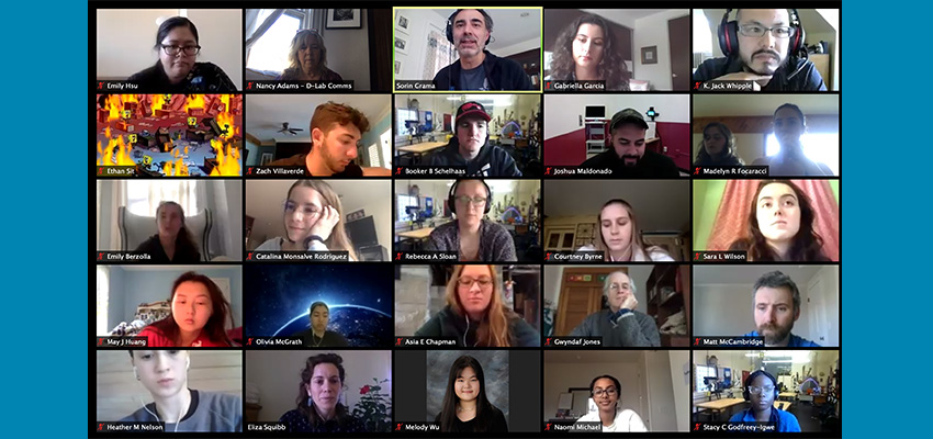 The 2020 D-Lab: Design class meeting online during the Covid-19 pandemic.