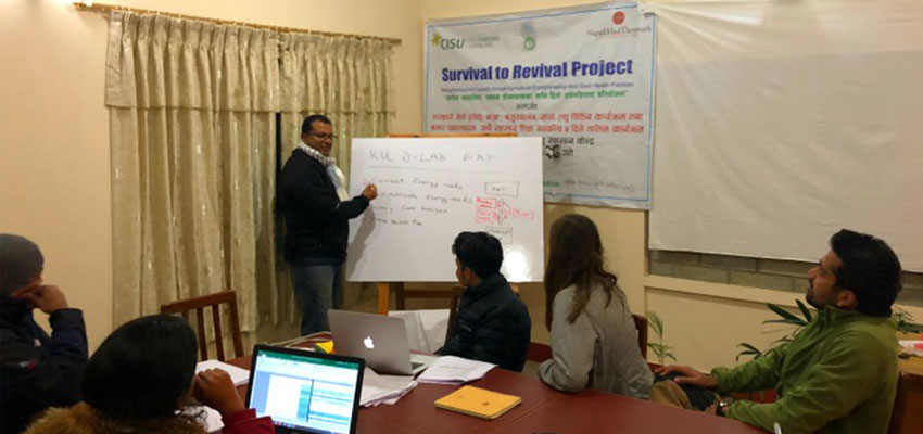 The MIT D-Lab and Kathmandu University teams at the energy assessment training conducted by D-Lab's Anish Paul Antony.