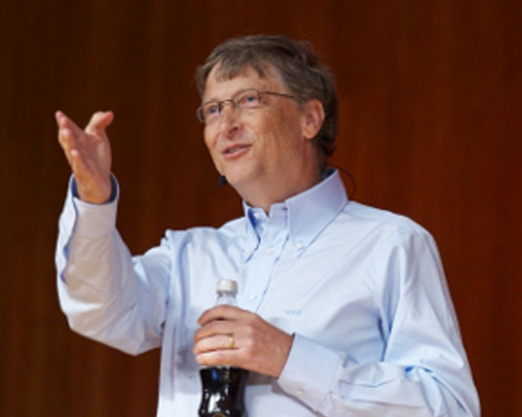 Bill Gates delivers his lecture at Kresge Auditorium as part of his Campus Tour. Photo: Justin Knight. Source: MIT News