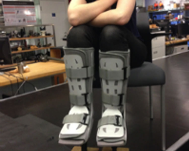 A 2014 D-Lab: Prosthetics student testing an aspect of her team's prototype.